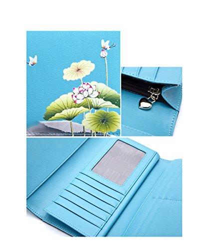Yvonnelee Donne Della Signora Frizione Lungo Della Borse Borsa UP cuoio Della Carta Portafoglio Leather Titolare Blu