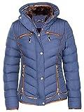 Manteau Hiver Veste matelassée Doublure karuze courte Duvet aspect fourrure - Bleu - 40
