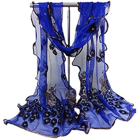 Coffeepop de mujer mujeres de la moda suave bufanda larga hogar flor de pavo real impreso bufandas chal para