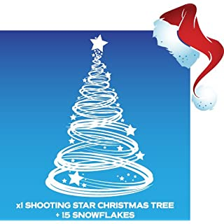 Aurum92 x1 Shooting Star Christmas Tree Window Cling Decoration and 15 Snowflakes