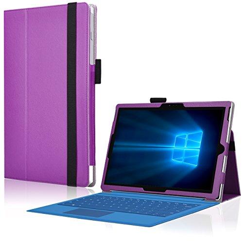 Microsoft Surface Pro 3 Cover Tasche mit praktischer Stand Funktion Case aus robustem Kunstleder kombiniert Schutz und Design für Ihr Microsoft Surface Pro 3 Hülle Case Lila von UC Express®