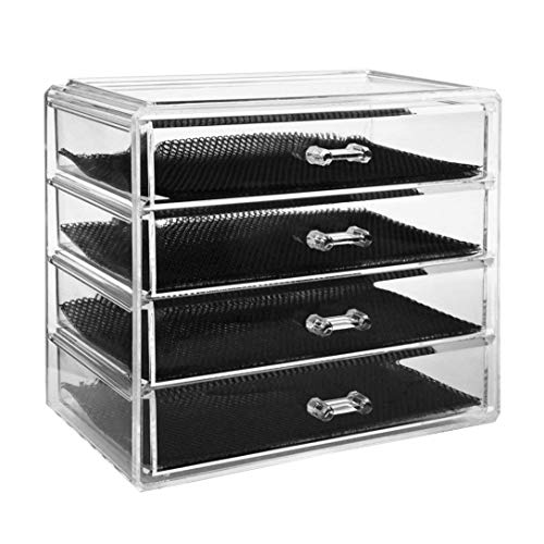 ORPERSIST Make-up-Veranstalter, 4-Tier-Clear Acryl Kosmetische Storage-Insert-Halter Bilden Cube Organizer, Schmuck Uhren Display Box, 4 Große Lange Schubladen Platzsparende, Abnehmbare Teiler -