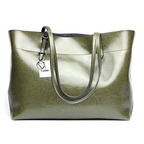 Yoome Borsa da donna vintage in vera pelle di tote borse a tracolla morbida borsa a tracolla messenger borsa hobo - blu verde