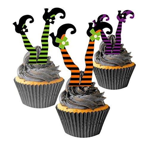 o Set Halloween Hexen Beine 25 Cupcake Förmchen 12 Kuchendeko ()
