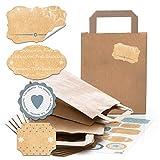 25 kleine braune Geschenk-Tüten Papier-Tüten Henkel Boden 18 x 8 x 22 cm + 34 2B beige hell-blau graue shabby Weihnachts-Etiketten Geschenk-Aufkleber von 4 bis 6,5 cm Kraftpapier
