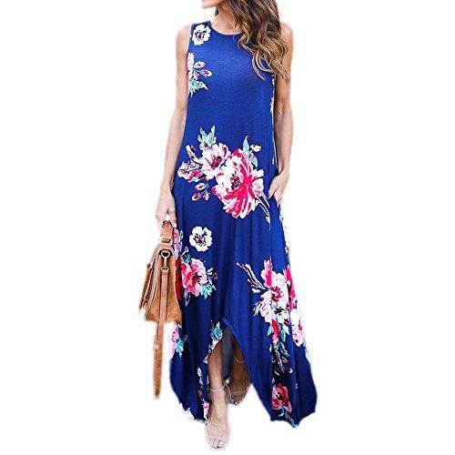 Uranus Damen Blumen Gedruckt High Low Hem Maxi Boho Langes Kleid Kleider mit Pocket Blau