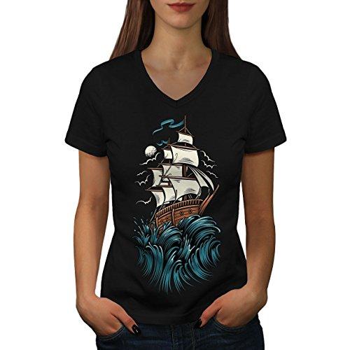 Horror Damen S V-Ausschnitt T-shirt | Wellcoda (Schrei Der Angst-halloween)