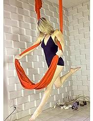 SUMUYA Hamaca para Yoga, Hamaca Correa Volar para Yoga Pilates Gimnasia Aérea, Yoga Inversión Ejercicio para el Cuerpo para Mujer, Carga de 440 LB.(Naranja)
