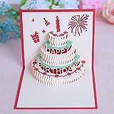 JinSu Carte d'anniversaire, 3D Pop-Up Carte de Voeux Joyeux Anniversaire ,3D Pop-Up Cartes Postales, Gâteau de 3 Couches Décorées, Enveloppe Incluse (Rouge)...