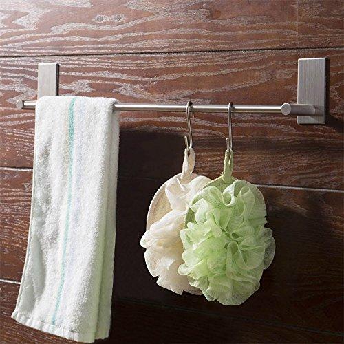 DEKOMORE Edelstahl Handtuchhalter 40CM Selbstklebender Handtuchstange mit 2 Stück S-Formige Ankupplung