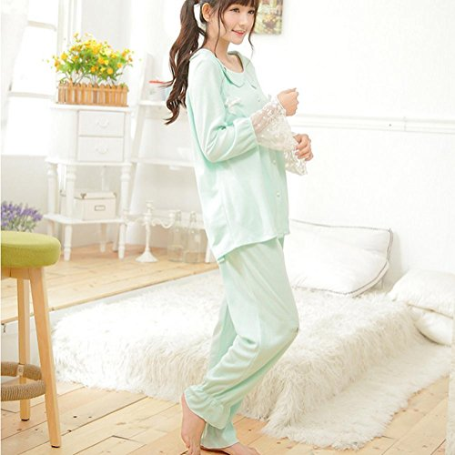 DMMSS Ladies Pyjamas 2 Piece Pure Cotton Pajamas Douce Pyjamas Set Green