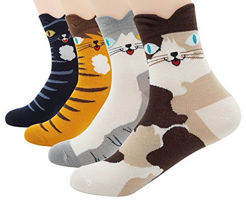 4 Paar Set Nette Katze Design Cartoon Socken (4. Juli Kostüm Ideen)