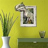 AdornHome Wandtattoo Wandsticker Wandaufkleber Wandbilder 3D Dinosaurier gebrochene Wand Schlafzimmer Wohnzimmer TV Sand Haar Hintergrund HD Selbstklebend 58 * 66 6 cm