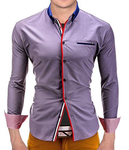 BetterStylz WaysideBZ Slim Fit Hemd Langarm Hemden Freizeit Business 2 Farben (S-XL) Grau