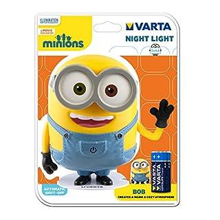 Varta LED Minions Nachtlicht Bob (inkl. 3x High Energy AA Batterie Taschenlampe Orientierungslicht Nachtlampe Stimmungslicht für Schlafzimmer Kinderzimmer mit Touch-Sensor und Auto-Abschaltfunktion)