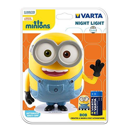 Varta LED Bob Minions Nachtlicht, inkl. 3x Longlife Power AA Batterie Taschenlampe Orientierungslicht Nachtlampe Stimmungslicht für Schlafzimmer Kinderzimmer mit Touch-Sensor und Auto-Abschaltfunktion -