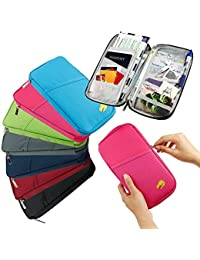 PETRICE Travel Long Passport Holder Wallet Case for Credit Debit Card Ticket Coins Money Cash Currency Boarding Pass Pen(Color May Vary)
