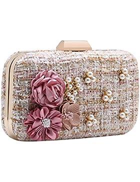 BABEYOND Damen Clutch Elegante Blumen Perlen Handtasche Damen Tanzball Clutch Abend Party Handtasche