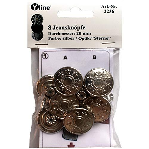 8 Jeans Knöpfe silberfarben 20 mm, Jeansknöpfe Metallknopf, Metall Knöpfe, nähfrei, im Polybeutel, sl, 2236