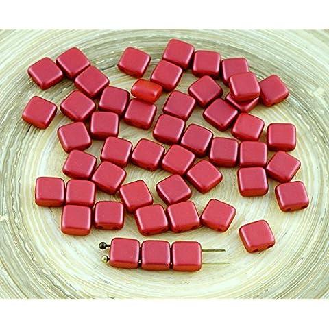 40pcs Pastel, Coral Oscuro de Teja Roja checa Perlas de Vidrio de Dos agujeros Plana Cuadrada de 6 mm x 6 mm