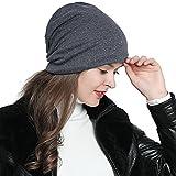 DonDon Damen Mütze Wintermütze Slouch Beanie silberne Pailletten Nieten grau