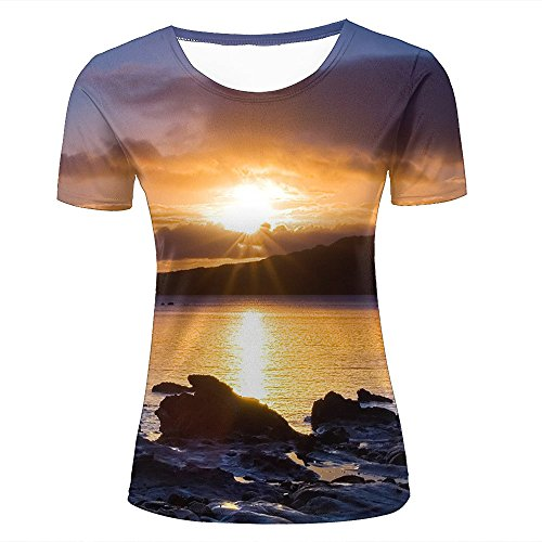 qianyishop Homme 3D Print Arctic Sunset Graphic T Shirts Couple Tees D
