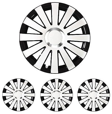 """Radkappen Radblenden Radzierblenden Onyx Schwarz-Weiß 14 Zoll 14"""" R14 universal passend für fast alle Fahrzeuge mit Standardstahlfelgen z.B. Isuzu"""