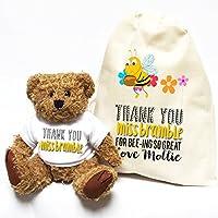 Personalizado profesor gracias oso Bumblebee y flores con a juego bolsa