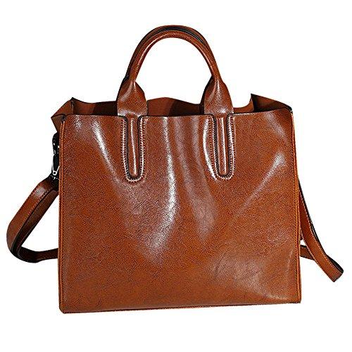 YAAGLE Sac à main femme Sac bandoulière en cuir synthétique classique et mode brun