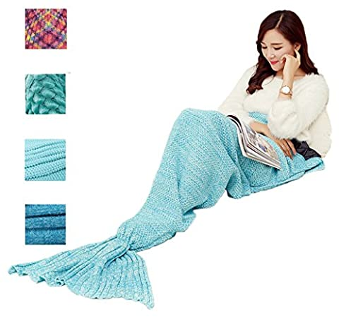 Knitting Mermaid Tail Blanket Handcrafted, Air Conditioning Blanket Soft Crochet Patterns Sleeping Bag All Season Use for Adults Kids by GreenK (Sea Blue)