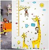 Sticker mural hauteur de mesure,Girafe et singe accrobranche règle de mesure de la hauteur appropriée pour la chambre des enfants et la décoration d'enregistrer la croissance de l'enfant tableau...