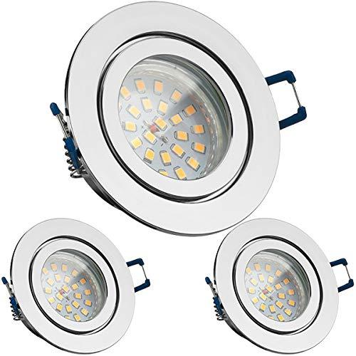 3er IP44 LED Einbaustrahler Set Chrom mit LED GU10 Markenstrahler von LEDANDO - 4,5W - warmweiss - 120° Abstrahlwinkel - Feuchtraum/Badezimmer - 30W Ersatz - A+ - LED Spot 4,5 Watt - rund -