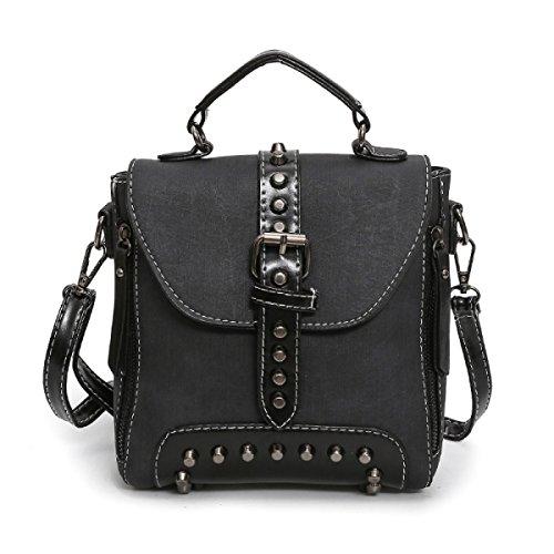 Mode Nieten Rucksack Neue Multifunktions-Tasche Weiblichen Casual Schultertasche Messenger Bag Rucksack,Brown Black