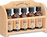 Saunaöl-Set-groß, Holzregal mit 5 x 50 ml Saunaöl sortiert
