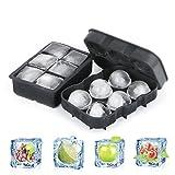 Combo de silicona Ice Cube bandejas (Juego de 2)–ruipye esfera bola de hielo de whisky con tapa grande y cuadrado cubo de hielo moldes para cócteles y Bourbon–reutilizable y sin BPA