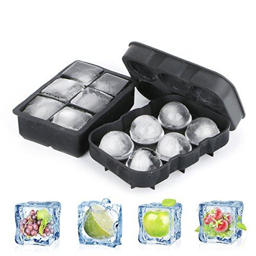 Silicone Ice Cube vassoi Combo (set of 2)–Ruipye Sphere whiskey Ice Ball Maker con coperchi & Large Square Ice Cube Molds per cocktail & Bourbon–riutilizzabile e BPA