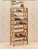QIANGZI Vertikale Weinregal 40 Flaschen Holz Stapelbar Lagerung Stand Küche Home Bar Moderne Hohe Display Regal