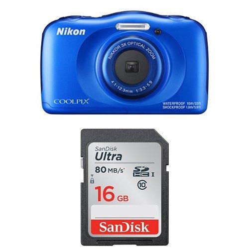Nikon Coolpix W100 Kamera blau + SanDisk Ultra...