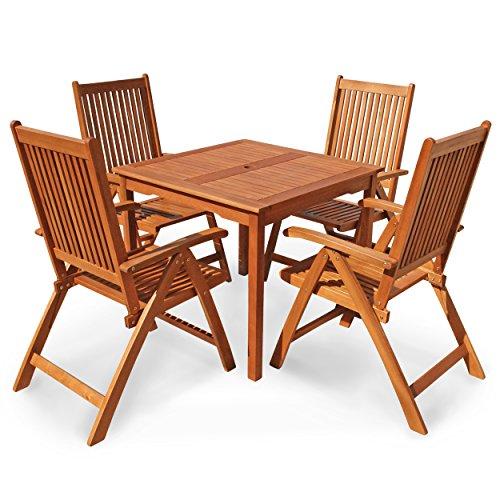 IND-70079-BASE5Q Gartenmöbel Set Bangor, Garten Garnitur Sitzgruppe aus Holz - 5-teilig - Tisch quadrtaisch + 4 x Stuhl klappbar -