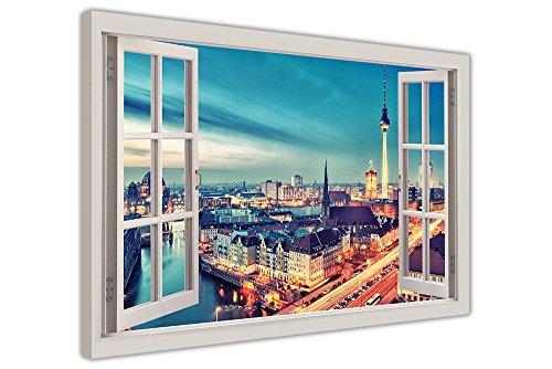 3D-Poster mit Motiv Berlin, Deutschland, Fenster-Sicht, canvas holz, 05- A1 - 34