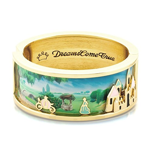 Disney Couture-14kt oro e smalto bracciale ampio Cenerentola e Magic Castle Scene
