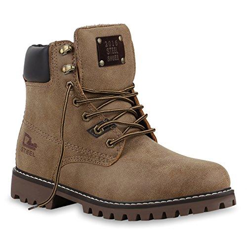 UNISEX Gefüttert Damen Herren Worker Boots Outdoor Schuhe Profil Sohle Braun Dunkelbraun