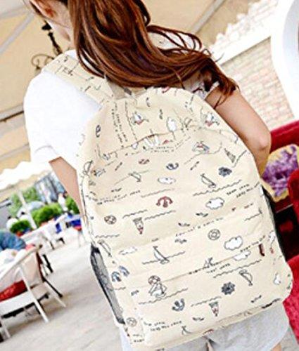 WeiMay Casual Rucksack Multifunktionale Leinwand Schule Tasche Student Rucksack große Kapazität Beige Beige