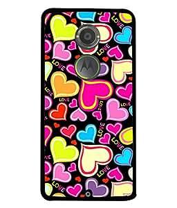 Fuson Designer Back Case Cover for Motorola Moto X2 :: Motorola Moto X (2nd Gen) (Love Heart Valentine Colourful Pink Yellow Blue Hearts)