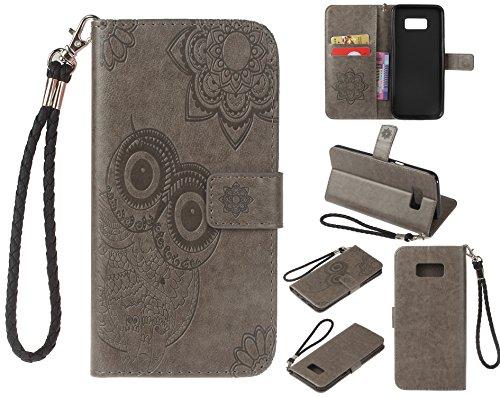 Ecoway Para Samsung Galaxy S8 Plus Funda, Patrón de búho en relieve Cuero de la PU Leather Cubierta , Función de Soporte Billetera con Tapa para Tarjetas Soporte para Teléfono - gris