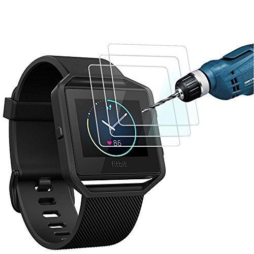 Fitbit Blaze Schutzfolie (3 Packungen), CAVN Premium HD Klarglas Displayschutzfolie für Fitbit Blaze Smartwatch, 9H Härte Multi-Layer-Ex-Schutz und Anti-Bubble Bildschirm Wache