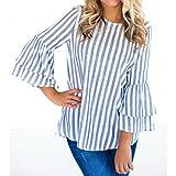 ESAILQ Damen Sommer Lose Oberteile Kurzarm Tops V-Ausschnitt Bluse Basic T-Shirt (L,Blau)
