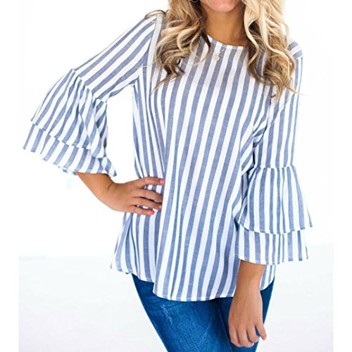 ESAILQ Damen Frauen Casual Kurzarm Stretch Falten Tunika Bluse Sommer Obteile mit Knöpfen V-Ausschnitt Ladies Shirt mit Gummizug Am Saum(S,Blau)