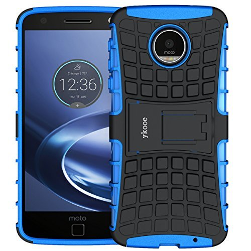 Moto Z Force Case,Moto Z Force Droid Case Shockproof,ykooe Heavy Duty Dual layer Protection Case Non-slip Grip Phone Cover With Stand for Motorola Moto Z Force (Not Fit for Moto Z Droid) (Blue)