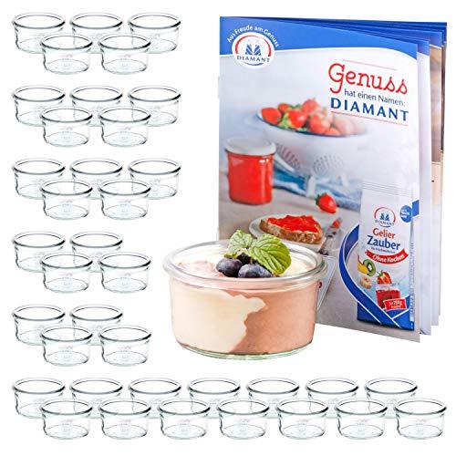 MamboCat 48er Set WECK Mini-Sturzgläser 165 ml + Rezeptheft | Pasteten-Gläschen Klar | Ø 8.8 cm | Lebensmittel einkochen, aufbewahren & konservieren | Einweck-Zubehör -